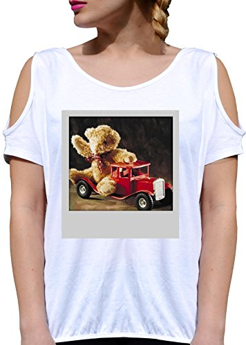T SHIRT JODE GIRL GGG27 Z2498 PUPPET BEAR CAR TOYS CHILDREN VINTAGE FUNNY FASHION COOL BIANCA - WHITE