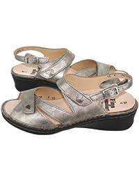 Finn Comfort, 2667-396016, Santorin Sandale Damen, Silber/Marmor