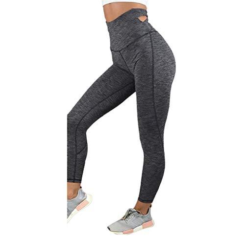 TianWlio Leggings Damen Frauen Running Yoga mit Hoher Taille Solide Atmungsaktiv Splice Läuft Sporthosen Hose Yoga Fitness Leggings Sport Schwarz L