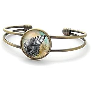 Armband mit cabochon, Vogel