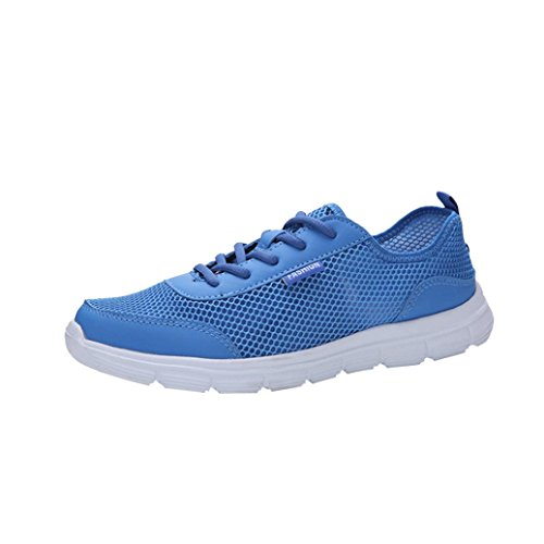 FNKDOR Laufschuhe Sneaker Atmungsaktive Schuhe Unisex Herren Damen Mesh Turnschuhe (45, Blau)