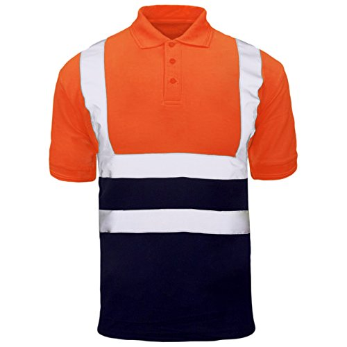 MyShoeStore Hochsichtbar Sichtbar Hohe Sichtbarkeit Poloshirt Reflektierendes Band Sicherheit Sicherheitsarbeit Taste T - Shirt Atmungsaktive Top Leichtgewicht Doppel Band Arbietskleidung Plus Große Orange Navy / Short Sleeve