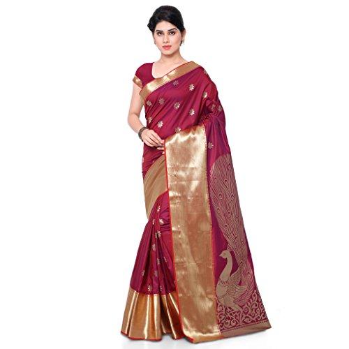Varkala Silk Sarees Blended Saree (Jb5004Rdv Red   Violet) banarsi saree eff6bf8a8