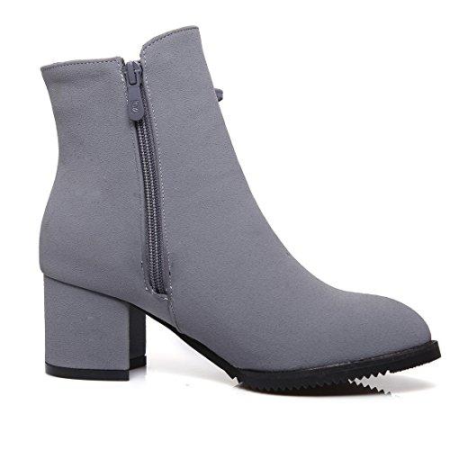 à Frange avec Lacet Lautomne Mode Gris à UH Moyen Cheville Chaussures Fermeture Pointu Bottines pour Talons Femmes Bloc Bout et Eclair en nXwqz8