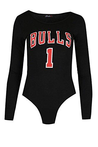 Femmes Américain BULLS 1 Sport Body Coupe Élancée Débardeur Jersey femmes Inspiré Célébrité Uni Sport Gym Haut Justaucorps Noir