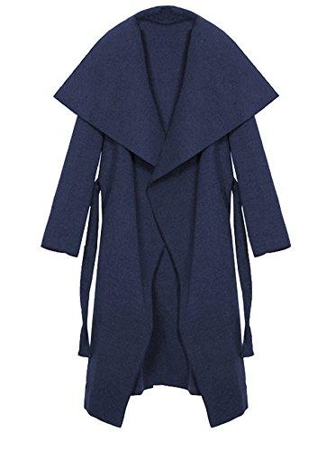 Kendindza Damen Mantel Trenchcoat mit Gürtel OneSize Lang und Kurz (One Size, Navy Blau Lang)