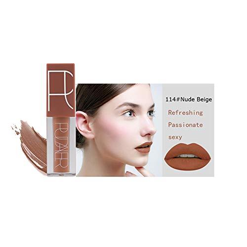 Beito 1 STÜCK Glanz Sexy Matte Lippenstift Flüssigen Lippenstift Wasserdichte Lippe Langlebige Samt Lippen Tönung Lippen Make-Up Für Frauen Mädchen (114 Nude Beige)