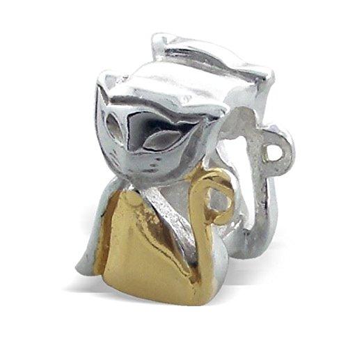 Silvadore - de plata del grano - gato lindo gatito mascota Cheeky - chapado en oro de ley de 925 2 - tono de encanto 3D varas en 763 - se ajusta Pandora Pulsera Europea - en caja de regalo gratis