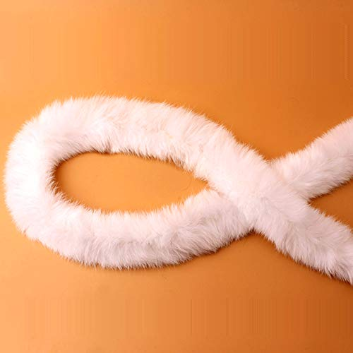 Bändchen-Fell-Kostüm, Daunenjacke, künstliches Kaninchenfell, Nähen, flauschiges Zubehör, Trimm-Bänder, DIY (weiß)