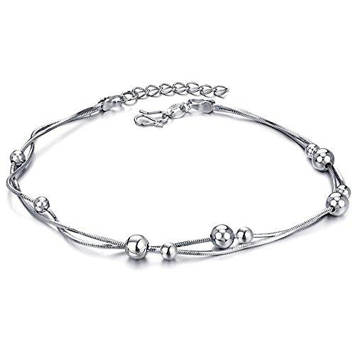 Kim Johanson Kugel Fußkettchen aus Edelstahl in Silber für Damen inkl. Schmuckbeutel