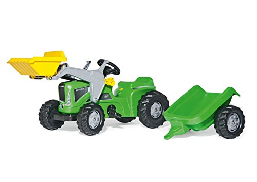Rolly Toys 630035 rollyKiddy Futura | Trattraktor mit Frontlader u. Automatikverriegelung | Traktor mit Anhänger | Funktionszubehör nachrüstbar | Farbe grün | ab 2,5 Jahren | TÜV/GS geprüft