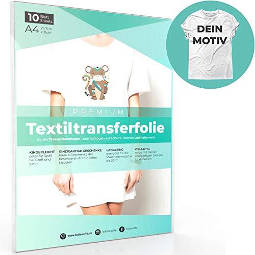r HELLE Stoffe und Tintenstrahldrucker, Transferpapier/Bügelfolie zum Bedrucken und Aufbügeln auf T Shirts und versch. Textilien (10 Blatt) ()