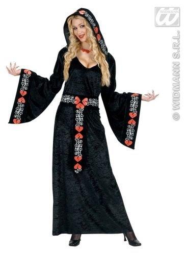 en Faschings-Kostüm mit Kapuze und Bordüre mit Herz-Muster, Gothic, Gotischer Stil, Samt-Look, Größe M (Weiße Hexe Kostüm Muster)