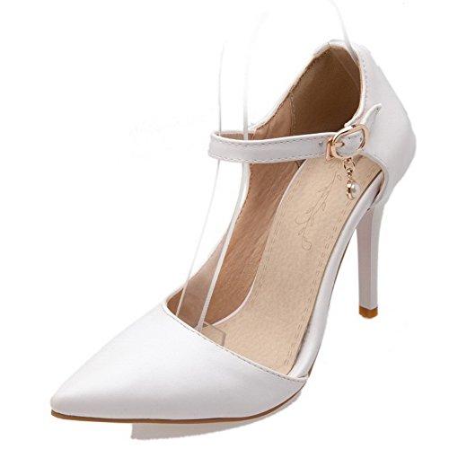 AllhqFashion Femme Matière Mélangee Boucle Pointu à Talon Correct Chaussures Légeres Blanc