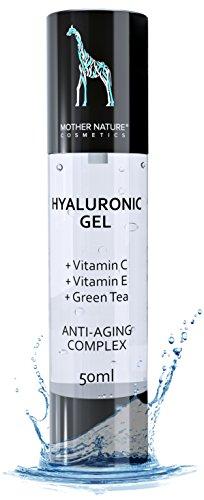 Hyaluron-säure-Konzentrat Gel - Mother Nature® | 50 ml Hochdosiert | Kollagen Booster für Gesicht, Hals, Körper | Anti-Aging inkl. Vitamin C, Vitamin E, Grüner Tee