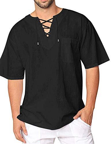 wolle Yoga Shirt Hippie Fisherman Sommerhemd Top Leinenhemd luftig schnelltrockend (70-Schwarz, XL) ()