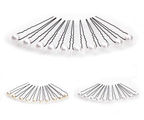 10 épingles à cheveux ornées de perles - accessoire pour cheveux/coiffure de mariée - Épingle à cheveux noire - blanc