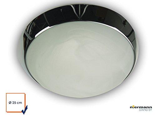 Plafonnier à LED plafonnier Bol Ø 25 cm, verre albâtre avec une LED Bague décorative en chrome, Belle Vestibule avec fermeture à baïonnette