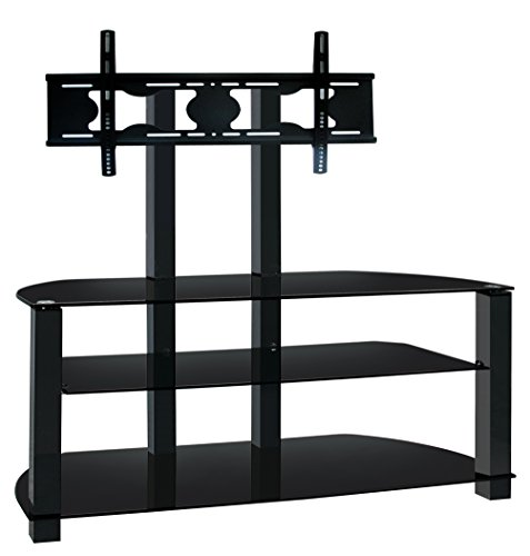 Ultra Cantilever Black Tempered Glass And Aluminium Tv Stand For Tvs Upto 65