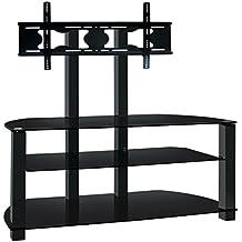 Ultra cantilever nero vetro temperato e supporto TV in alluminio per TV fino a 65