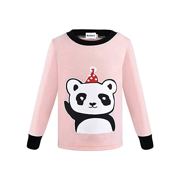 Winzero - Conjunto de pijama de Navidad para niñas, manga larga, algodón, pijama, camisas, pantalones y camisas, ropa de… 2