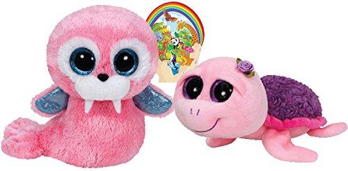 TY Beanie Boos Rosie rosa viola tartaruga e elefante rosa Tricheco regalo set di 2peluche 6–8cm, con bonus adesivo animali