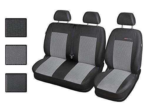 Carpendo Sitzbezüge Auto 1+2 Transporter Autositzbezüge Schonbezüge Vorne mit Airbag System - Elegance P2