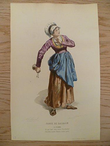 Kostüm De Marie Paris - Farce de Calbain. Kolorierter Stahlstich von