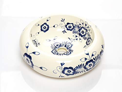 Alonsa - Weißes rundes mexikanisches Keramikbecken - Mexikanische Rund Aufsatzwaschbecken | 40 cm Keramik Talavera Waschbecken aus Mexiko | Buntes motiven | Ideal badezimmer zementfliesen