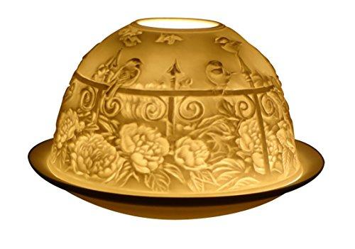 White Porcelain Garden Gates Lithophane Tea light Holder-Bnib-Ottimo regalo