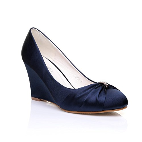 EDEN Navy Satin Wedge High Heel Bridal Court Shoes Size UK 5 EU 38