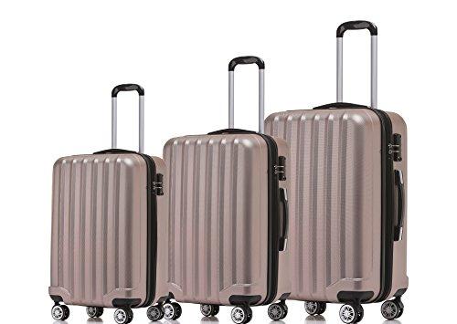BEIBYE TSA-Schloß 2080 Hangepäck Zwillingsrollen neu Reisekoffer Koffer Trolley Hartschale Set-XL-L-M(Boardcase) in 12 Farben (Rosa Gold, 3tlg. Kofferset)