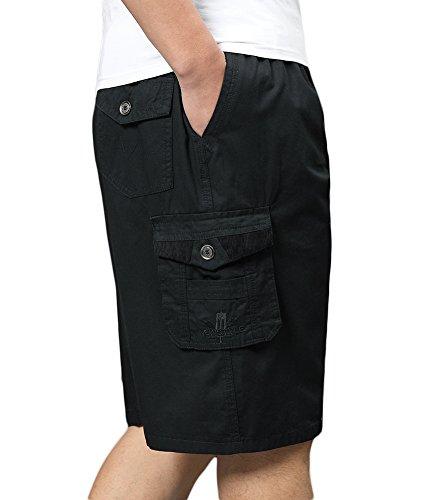 SK Studio Hombre Bermuda Multibolsillos Shorts Algodon Tallas Grandes Cortos Pantalones Negro
