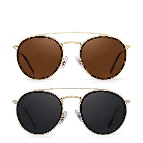 Occhiali da sole polarizzati rotondi cornice in metallo vetro piatto circolare occhiali uomo donna 2 pacchi (marrone e grigio)