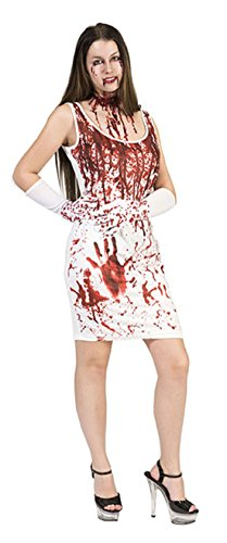 Totenkopf Maske Knochen Latex (erdbeer-clown - Damen Halloween Karneval Kostüm Kleid Splatter bloody Marie, M,)