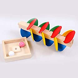 Turobayuusaku Montessori Educational Toy Wooden Tree Marble Ball Run Track Game Children Toy