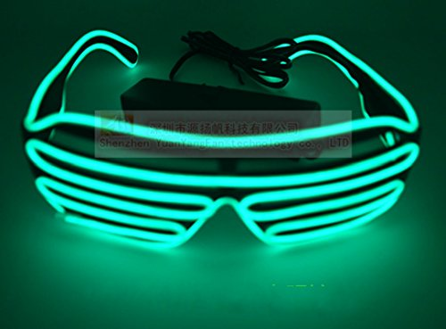 skjiji Tricks beleuchtet Neon Electroluminescent EL Draht LED Brille Licht Shutter Rahmen Kostüme Gläser Brille (Party Animal Kostüm Make Up)