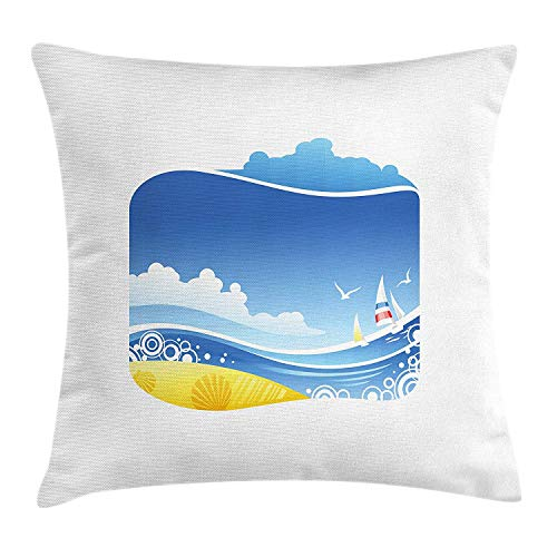 OQUYCZ Beach Throw Pillow Cushion Cover, Exotic Wavy Sea with Seashells Wind Boats Seagulls Open Skyline Cartoon Style, Decorative Square Accent Pillow Case, 18 X 18 inches, Blue Yellow White -