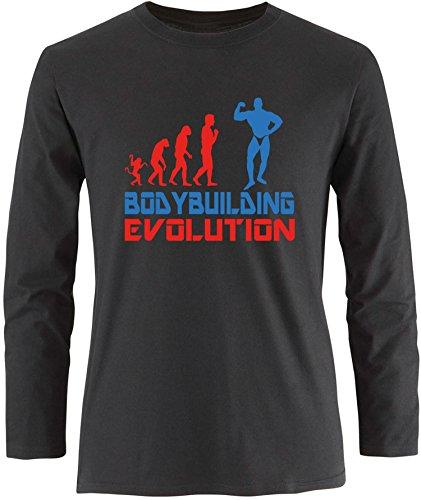EZYshirt® Bodybuilding Evolution Herren Longsleeve Schwarz/Rot/Blau