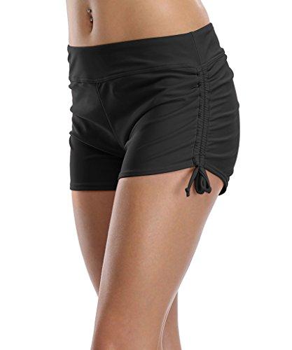 CharmLeaks Damen Wassersport Badeshorts Mit Verstellbare Kordel Schwarz S (Kurz Rosa Panty)