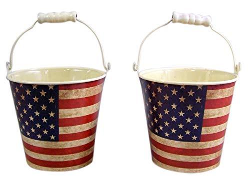 Rustikaler Blumentopf aus Blech, Motiv: US-Flagge, mit Kunststoffeinsatz, 10,2 cm, 2 Stück -