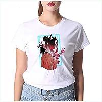 JUSTTIME Camiseta Estampada Blanca para Mujer Camisa de Fondo Jersey de Manga Corta Cuello Redondo Camiseta Estampada de Algodón Camiseta de VeranoComo se muestra, XL