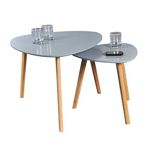 WEBER INDUSTRIES Lot de 2 Tables Basses Gigognes Onyx, Bois, Gris, 60 x 60 x 45 cm