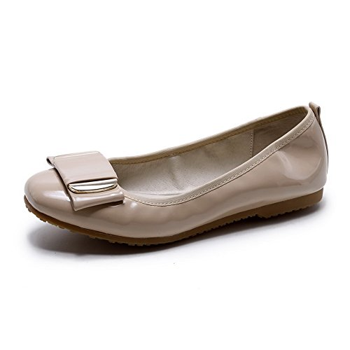 AgooLar Damen Ohne Absatz Rein Ziehen Auf Lackleder Rund Zehe Flache Schuhe Aprikosen Farbe