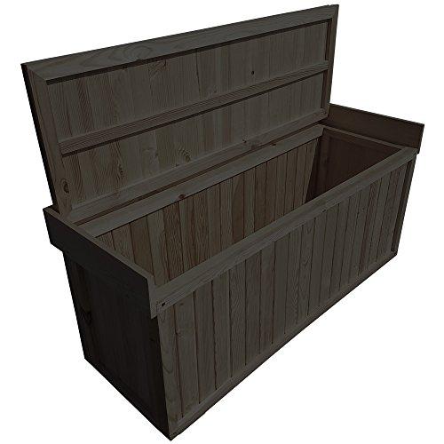 proheim Auflagen-Box mit Sitz aus 100% FSC Holz stabile Universal-Box Kissen-Box Sitzbank (1225 x 560 x 415 mm (L x H x T), Anthrazit) -