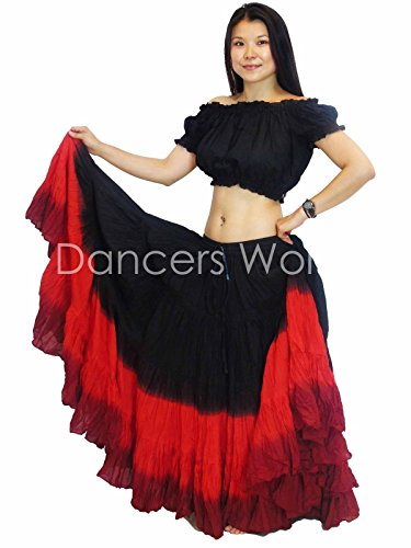 Dancers World Ltd (UK Seller) Tänzer Welt 2pc 25 Yard Baumwolle Rock für Tribal Gypsy Bauchtanz Röcke ATS, Black Red Maroon