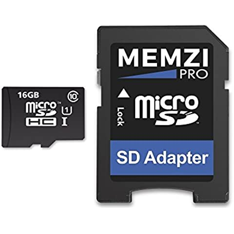 Memzi Pro 16GB, classe 1090MB/s micro SDHC Scheda di memoria con adattatore SD per SunnyCam Occhiali o registrazione video Azione Fotocamera Occhiali - Azione Occhiali Sportivi