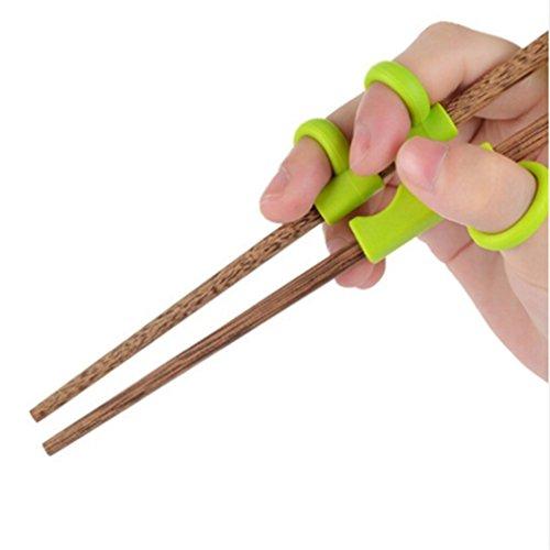 Gluckliy Kind Essstäbchen für Anfänger Chopsticks,Baby Trainings Stäbchen Holz Kinder Senioren Chopsticks und Silikon Übung Training Werkzeuge (Grün Elefant)