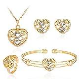 Scpink Frauen Persönlichkeit Strass Halskette Armband Ring Ohrringe Schmuck Sets 4 Stck (M)