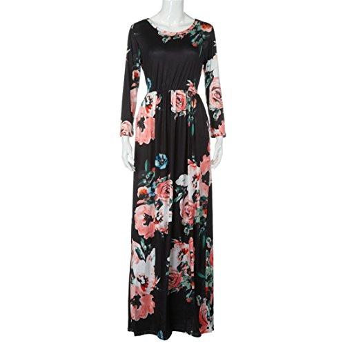 Malloom Frauen Sommer Floral Print Langarm Boho Kleid Abendkleid Party lange Maxi Schwarz